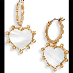 New tory burch mother of pearl heart earrings